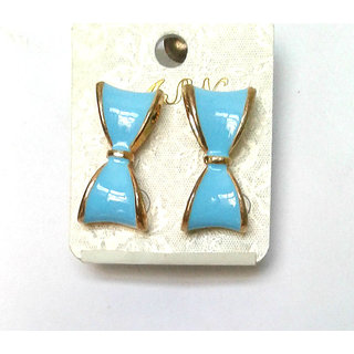 Fashion Blue Bow Earrings - 735