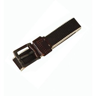 DiCure Men Belt With Canvas And Real Leather Trim  With Free Gift Card Holder