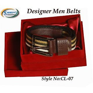 Men Belt With Real Leather Trim ( With Size Adjustment By User , Size:38 Inches)