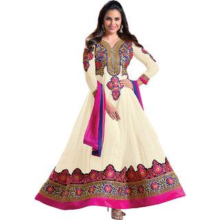 KUMKUM Lara dutta Off White Embroidered Anarkali Salwar Kameez