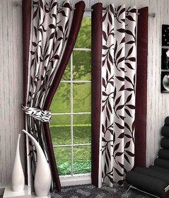 iLiv Floral Brown Kolaveri Polyester Door Eyelet Semi Transparent Curtain For Bed Room 7 Feet (Set Of 2)
