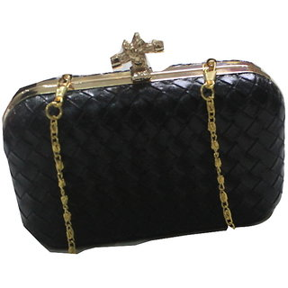 Upma Leatherette Clutch Black