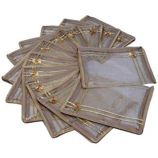 Kuber Industries Saree Cover 12 Pcs Combo In Full Transparent Golden Net
