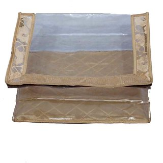 Kuber Industries Saree Cover In Golden Design In Heavy Transparent With Capacity Of 15 Sarees