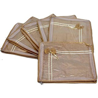 Kuber Industries Saree Cover 6 Pcs Combo In Designer Golden Transparent Net