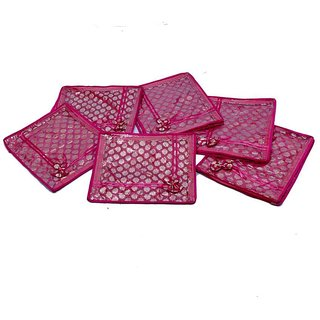 Kuber Industries Saree Cover 6 Pcs Combo In Pink Designer Brocade