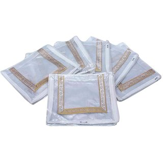 Kuber Industries Saree Cover 6 Pcs Combo In Silver Designer Brocade Material