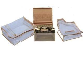 Kuber Industries Saree Cover Combo Of Blouse Cover & 2 Rod Bangle Box & Vanity Box In Golden 4 Pcs Combo