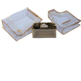 Kuber Industries Saree Cover Combo Of Blouse Cover & Vanity Box In Golden 3 Pcs Combo