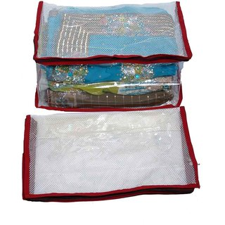 Kuber Industries Saree Cover 2 Pcs Combo In Full Transparent Net