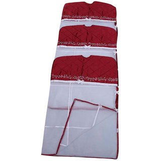 Kuber Industries Saree Cover Hanging 3 Pcs Combo In Maroon Satin