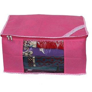 Fashion Bizz Pink Non Woven Multi Saree Cover Set Of 1 Pc