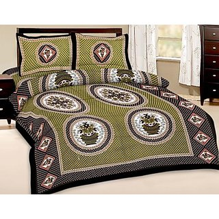 Shop Rajasthan Pure Cotton Double Bed Sheet With 2 Pillow Covers (SRA2774)