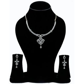 YouBella Ideal American Diamond Gold Plated Necklace Set For Women
