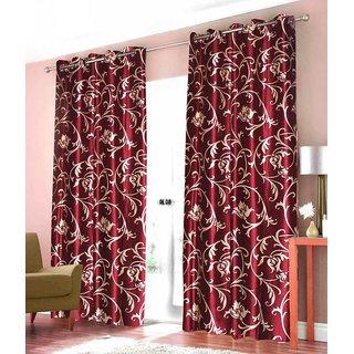 Z Decor Polyester Set of 2 Door Curtain 7 feet (ECTD-00017)