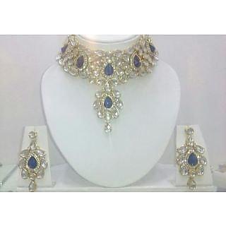 blue stone& kundan necklace