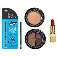 Blue Heaven Xpression Lipstick R 008(4 Gm), Bh Kajal Liner(031 Gm), 4X1 Eye Magic Eye Shadow 605(6 Gm) & Diamond Blush On 505(7 Gm) Combo