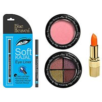 Blue Heaven Xpression Lipstick On 100(4 Gm), Bh Kajal Liner(031 Gm), 4X1 Eye Magic Eye Shadow 605(6 Gm) & Diamond Blush On 504(7 Gm) Combo