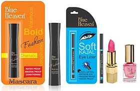 Blue Heaven XPR LP P 077, XPR NP 928, Fashion Mascara  Kajal Liner Combo