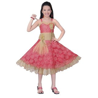 Saarah Red Frocks For Girls (Size: 6-7 yrs)