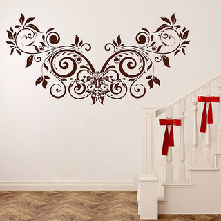Decor Kafe Floral Creative Design Wall Sticker (22x11 Inch)