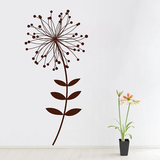 Decor Kafe Sunflower With Dot Leaves Wall Sticker 20x44 Inch)
