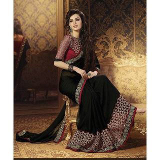 Designer Black Color Georgette Saree With Designer Art Silk Blouse.