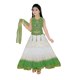 Saarah Green & White Lehenga Choli Sets For Girls (Size: 7-8 yrs)