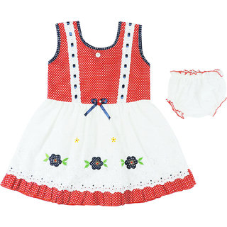 Ole Baby Sleevless Frock- Embroidery And Polka Dot Print (OB-PFRCK-454XL1)