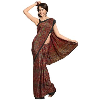 Womantra Women's Crepe Multicolor  Saree
