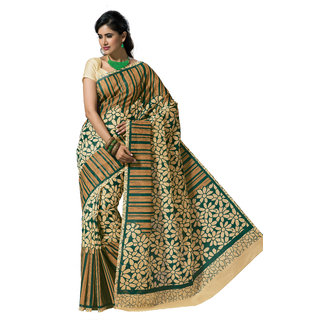 Jayanshi Green Color Cotton Saree With Unstitch Blouse Piece