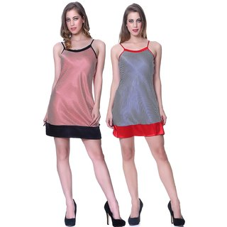 SLEEPINS Red And Blue Color Babydoll Sleeveless Satin Nightwear Combo Of 2