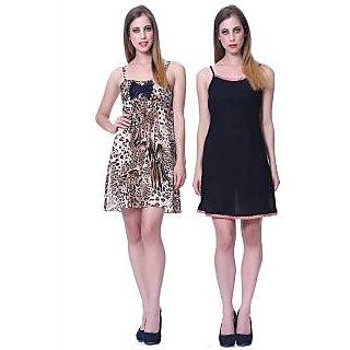 Sleepins black And Leopard print Babydoll Sleeveless Satin Nightwear Combo Of 2