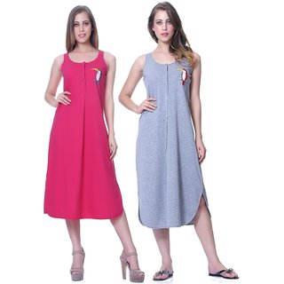 Sleepins Pink And Grey  Color Nightie Sleeveless Cotton Nightwear Compo Of 2