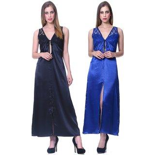 Sleepins Blue And Black Color Nightie Sleeveless Satin Nightwear Combo Of 2