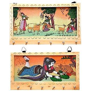 satya gemstone wooden key holder combo pack of 2
