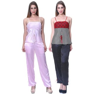 Sleepins Black And Pink Top & Pajama Set Sleeveless Satin Nightwear Combo Of 2