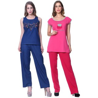 Sleepins Pink And Blue Top & Pajama Set Half Sleeve Cotton Nightwear Combo of 2