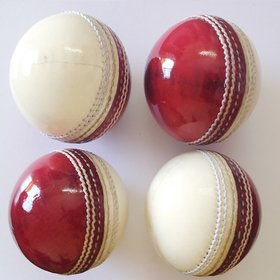 Navex Red  white Cricket Leather Ball HS Pcking 2 pcs
