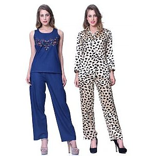 Sleepins blue & Leopard Print Top& payjama Set Half Sleeve Nightwear Combo Of 2