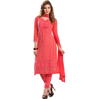 Florence Pink Sajda Chiffon Embroidered Suit