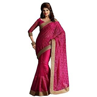 Triveni Purple Net Embroidered Saree With Blouse