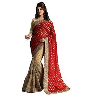 Triveni Blue Net Embroidered Saree With Blouse