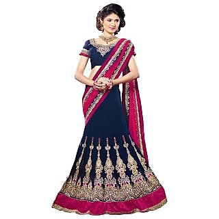 Triveni Black Georgette Embroidered Saree With Blouse