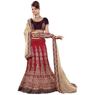 Triveni Magnificent Maroon Colored Embroidered Bhagalpuri Silk Lehenga Choli