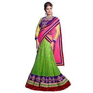 Triveni Marvelous Green Colored Embroidered Net Lehenga Choli