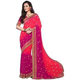 Triveni Pink Chiffon Embroidered Saree With Blouse
