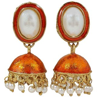 Maayra Bright Orange White Meenakari Jhumki Earrings