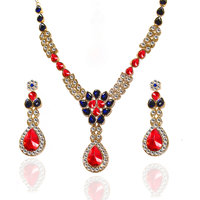 Kriaa Exclusive Red & Blue Necklace Set  -  2103105
