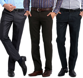 Inspire Big Size Formal Trousers Pack Of 3 (Black, Blue  Coffee)